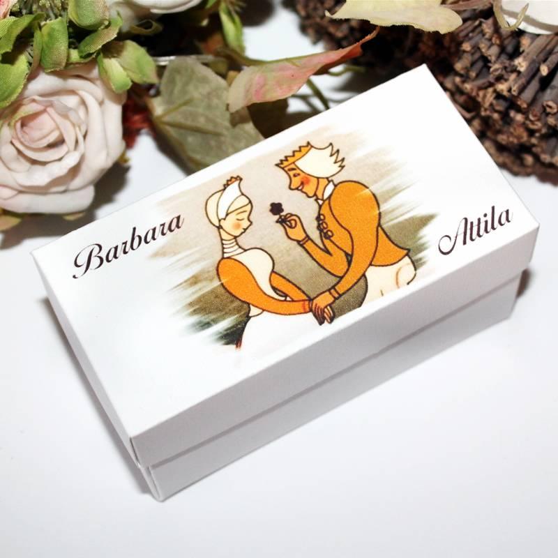 Magyaros esküvői meghívó tégla dobozban