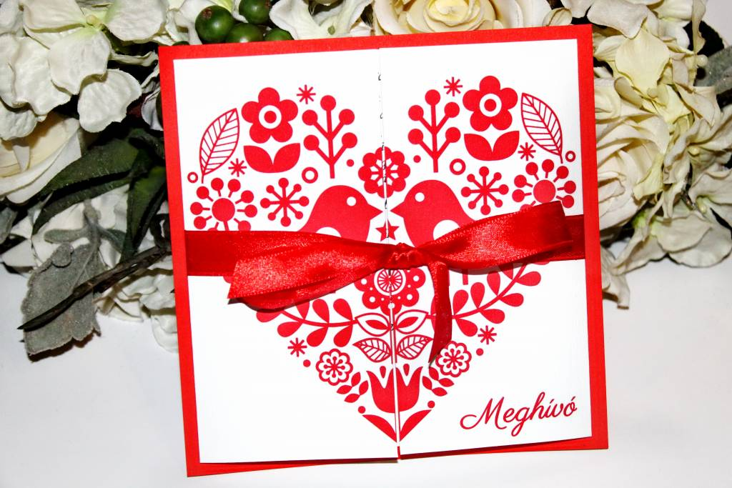 Ablakos magyaros esküvői meghívó