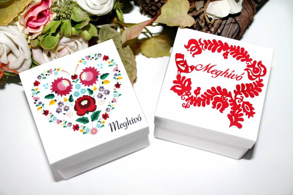 Magyaros esküvői meghívó kocka dobozban