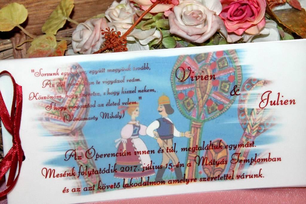 Pauszrátétes esküvői meghívó