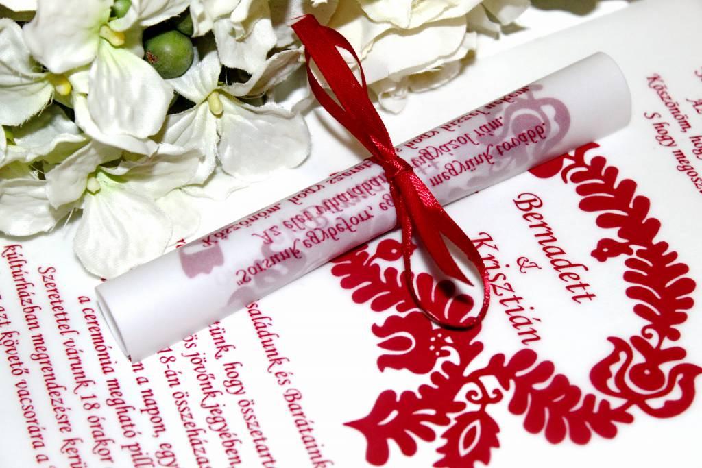 Tekercses magyaros esküvői meghívó